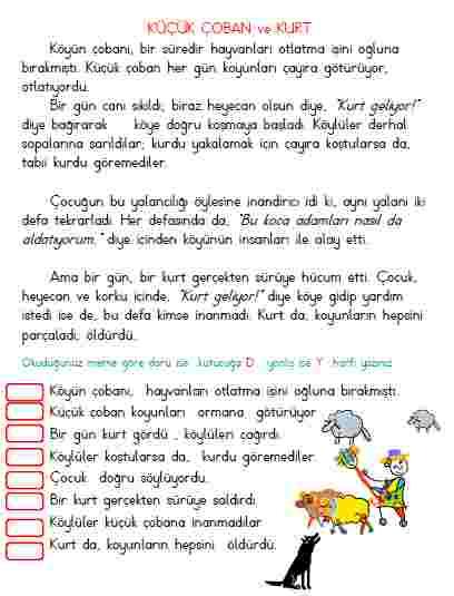 1.SINIF OKUDUĞUNU ANLAMA ETKİNLİKLERİ - 4