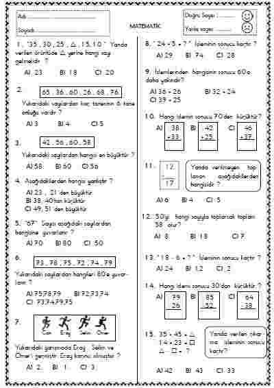 Matematik - Test 3 ( Doğal Sayılar )