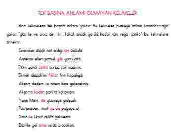 Türkçe-Tek Başına Anlamı Olmayan Kelimeler (Konu Anlatımı)