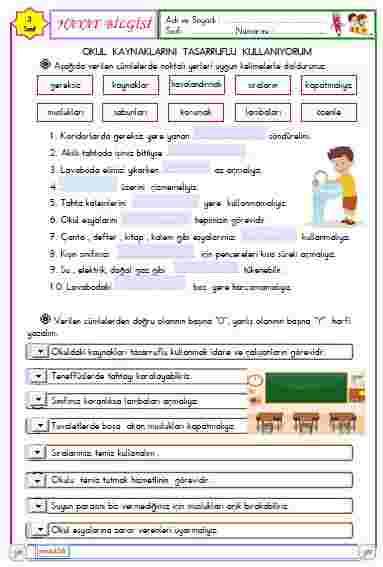 Hayat Bilgisi - Okul Kaynaklarını Tasarruflu Kullanı. ( Etkileşimli)
