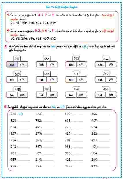 tek ve çift doğal sayılar etkinlik örnek çözüm