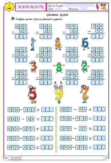 Matematik - Çıkarma İşlemi 1 (Etkileşimli)