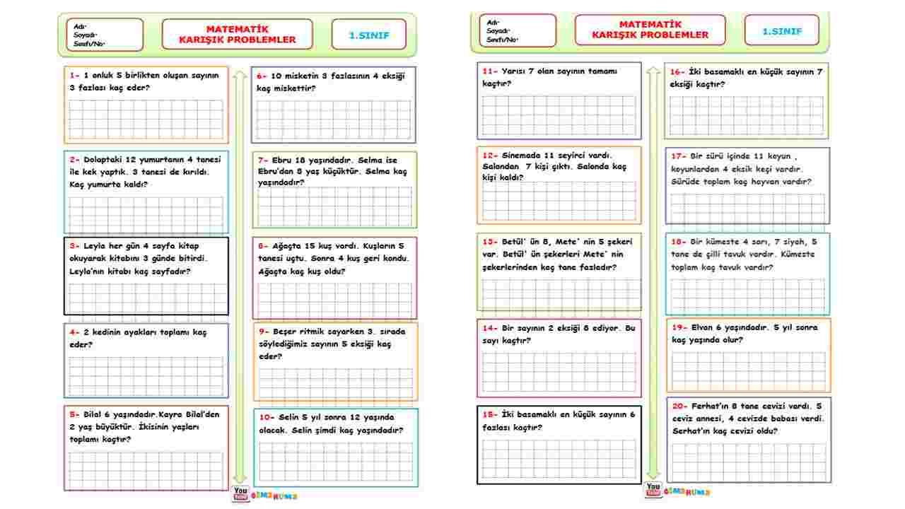 1.Sınıf Matematik - Karışık Problemler - Toplama ve Çıkarma