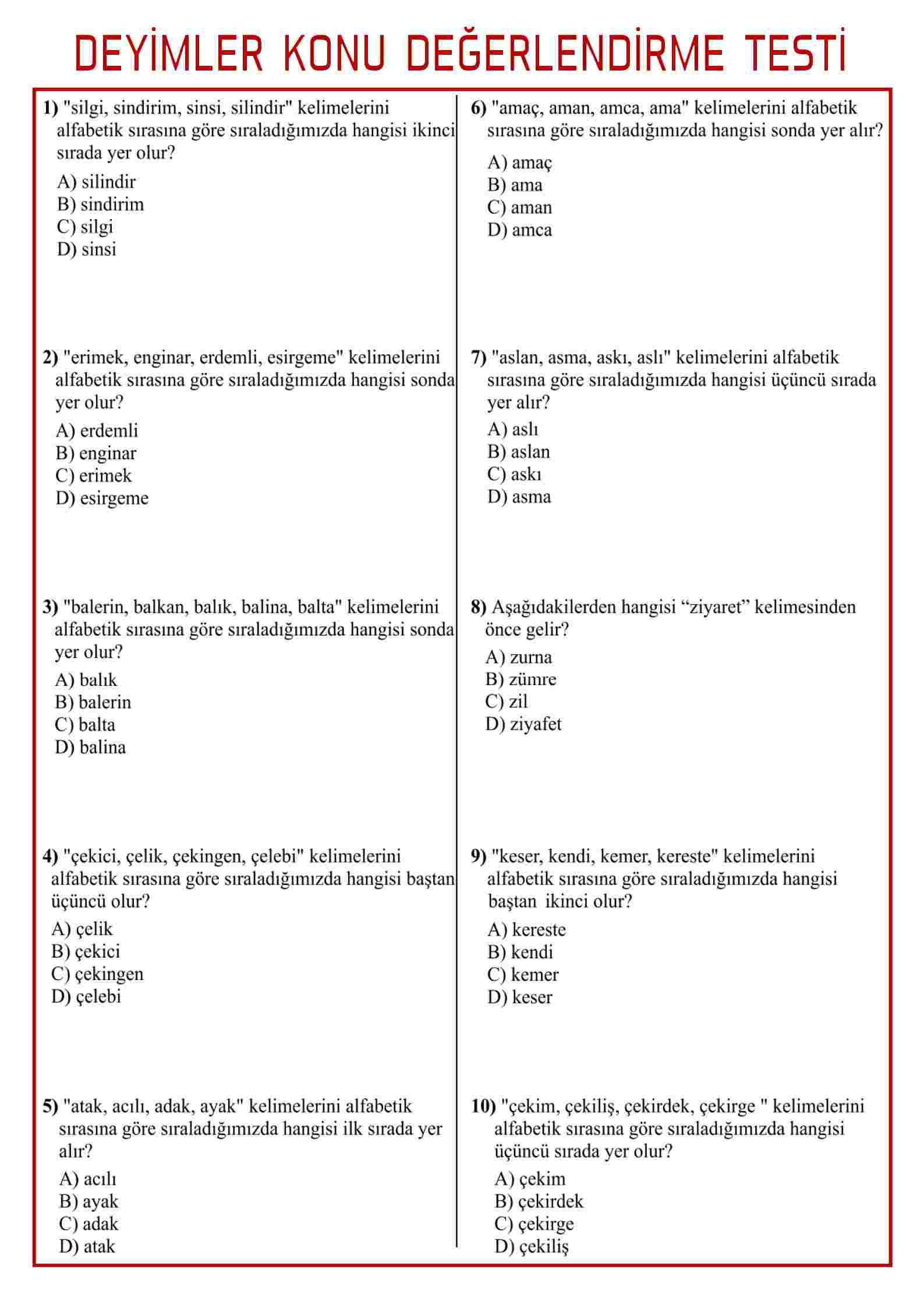 DEYİMLER_KONU DEĞERLENDİRME TESTİ-2