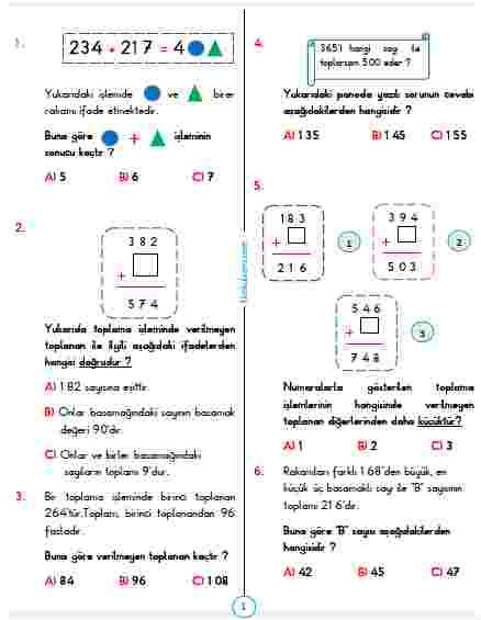 3.SINIF MATEMATİK HAFTA8 TEST 1 VERİLMEYEN TOPLANANI BULMA