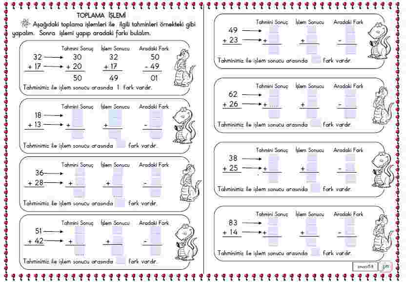 Matematik - Toplama İşlemi Sonucu Tahmin Etme 2 (Etkileşimli)