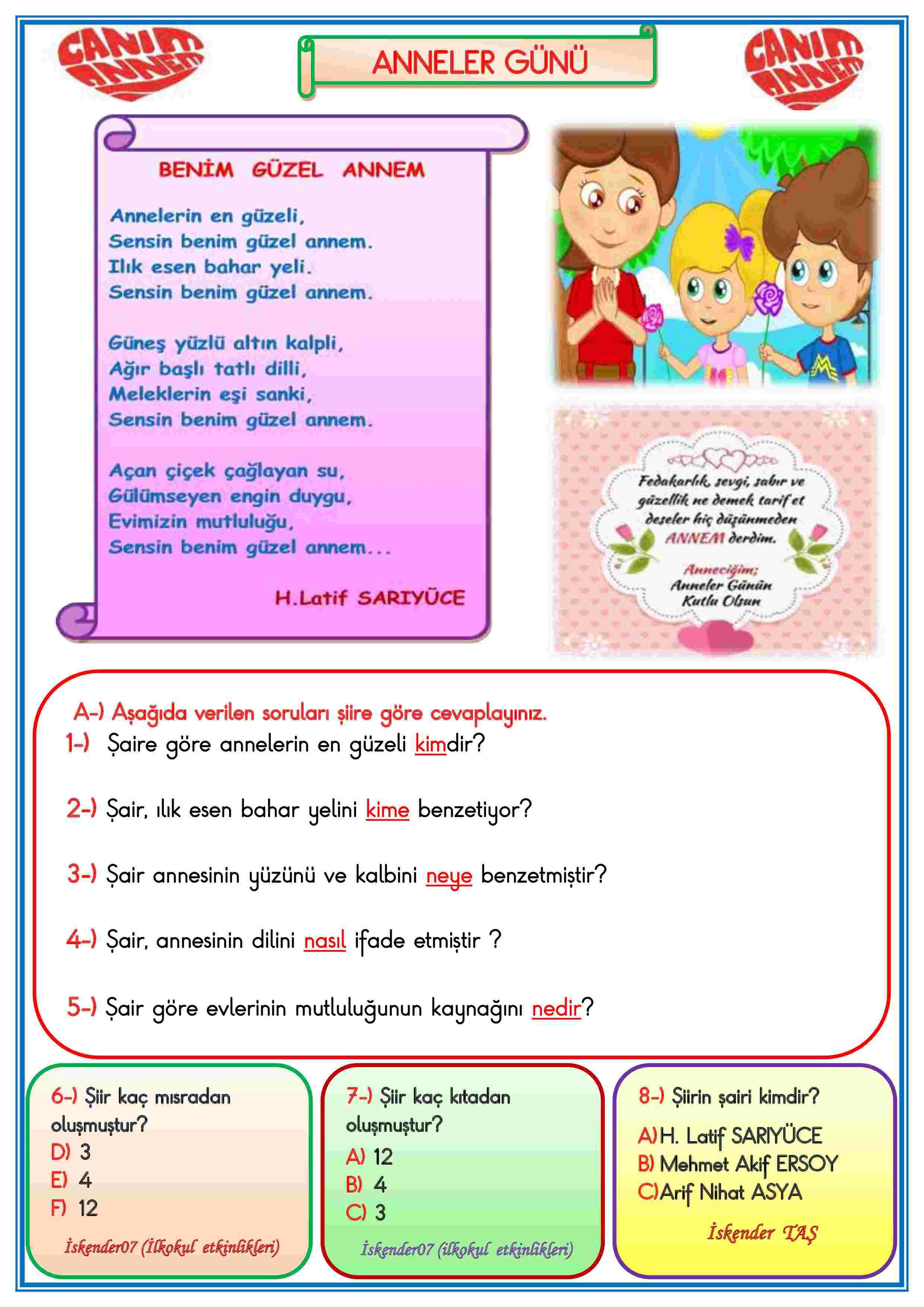1.SINIF ANNELER GÜNÜ BENİM GÜZEL ANNEM ŞİİRİ  (2 SAYFA)