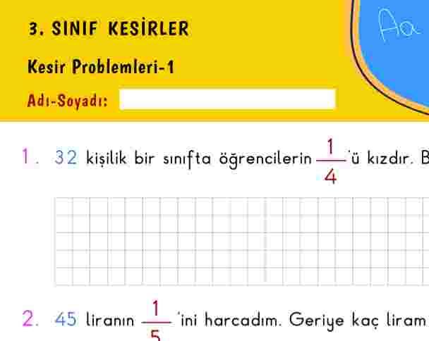 3. Sınıf Kesir Problemleri-1