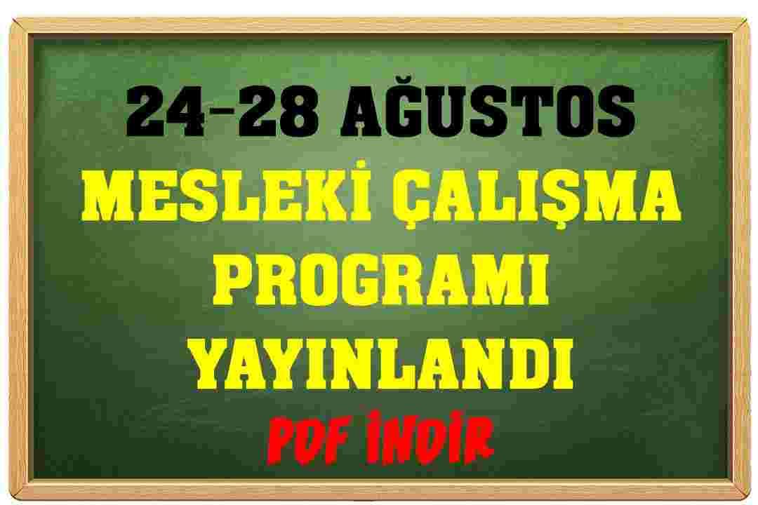24-28 Ağustos Mesleki Çalışma Programı İNDİR