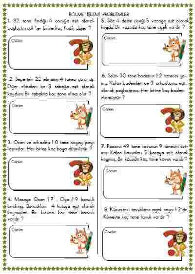 Matematik -  Bölme işlemi problemler 9