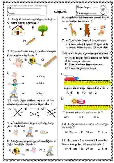 Matematik - Test 7 ( Uzunluk Ölçme )