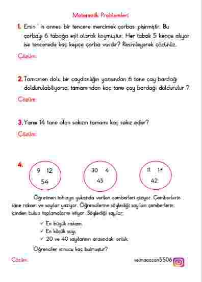 1. sınıf Matematik Problem, Türkçe, Hayat Bilgisi  TELAFİ 3. GÜN