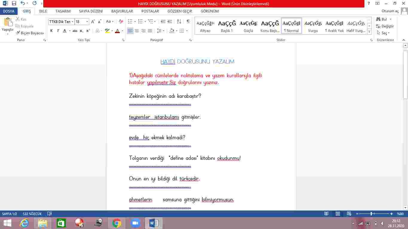 Yazım Kuralları Çalışması