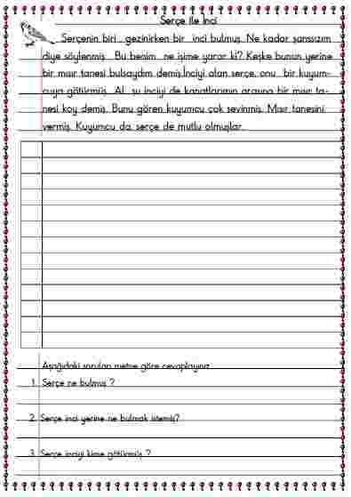 Türkçe -  Okuma , yazma ve anlama etkinliği 3