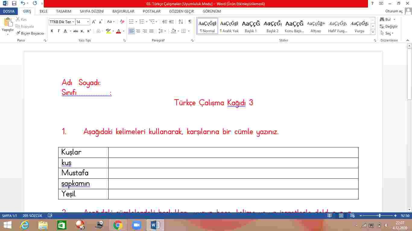2. Sınıf Türkçe Müthiş Etkinlik 3