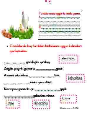 V sesi okuma anlama, hızlı okuma, kelime, dikte 5 SAYFA