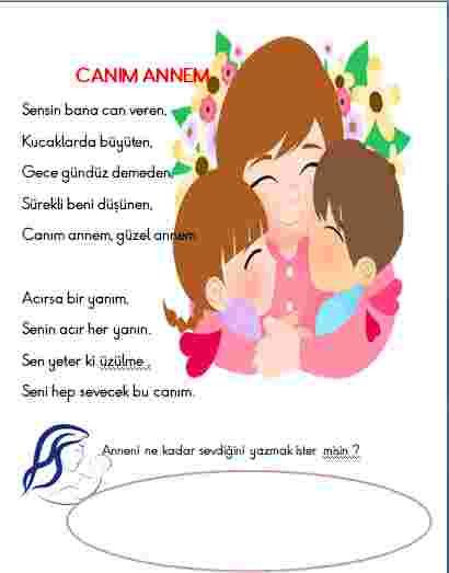 Canım ANNEM şiiri 1.,2.,3.,4. sınıflara annelerimize
