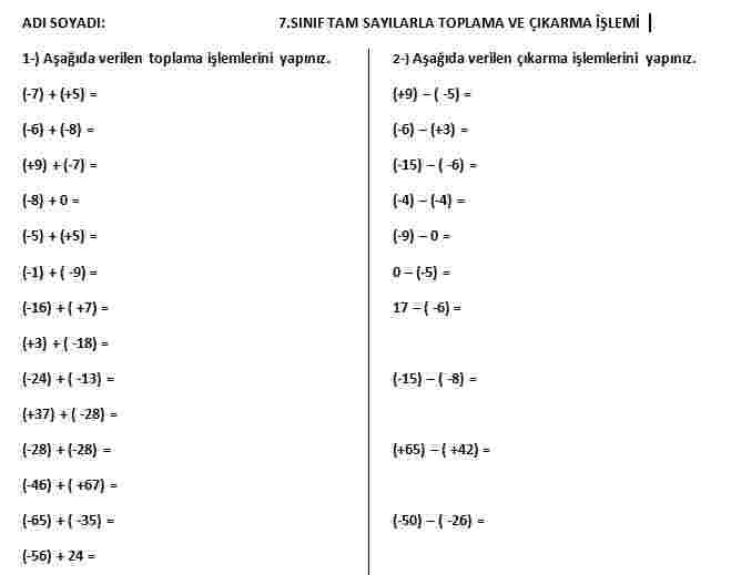 7.Sınıf tam sayılarda toplama ve çıkarma işlemi