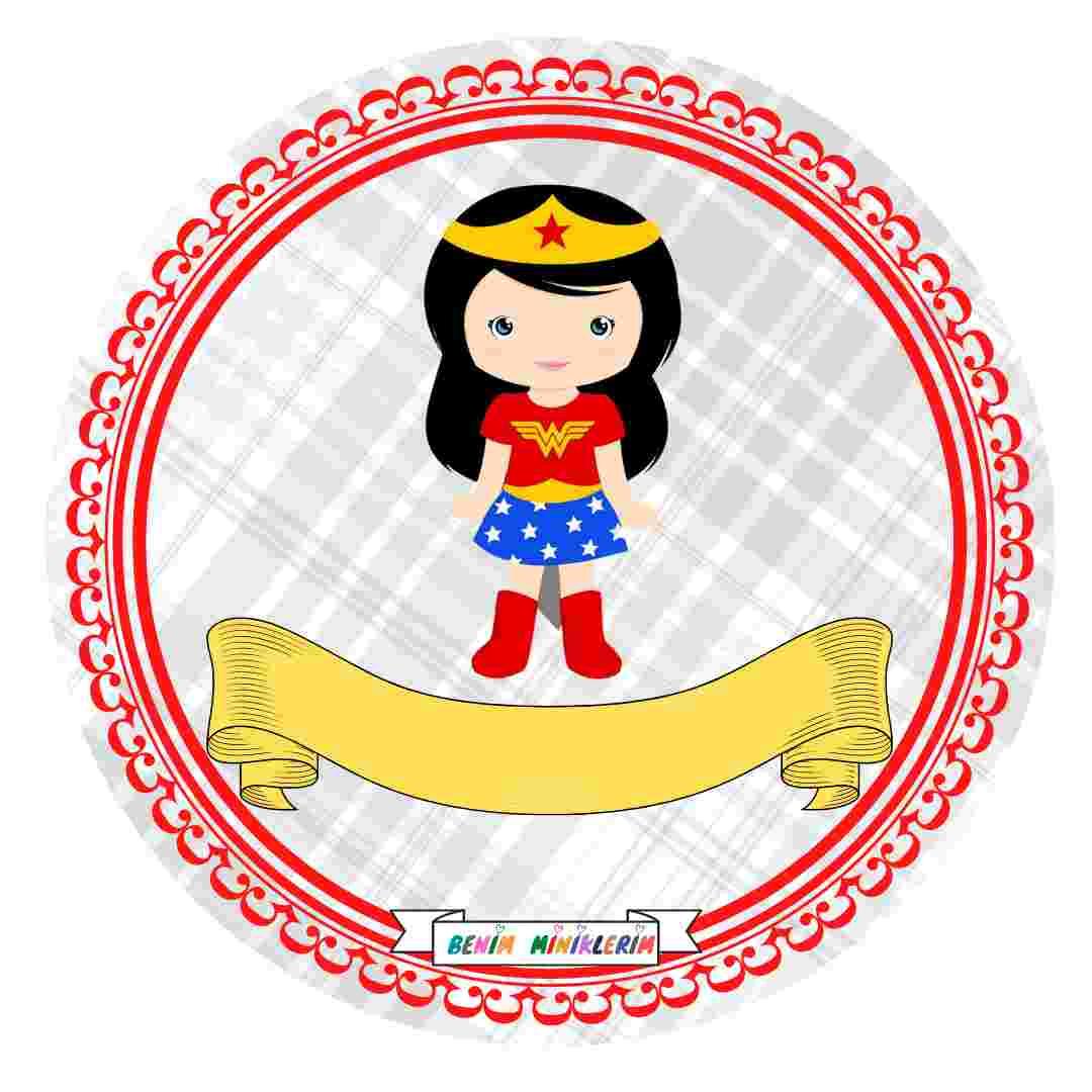 Süper Kahramanlar - Sıra Etiketi / Yaka Kartı - Kız Çocuk