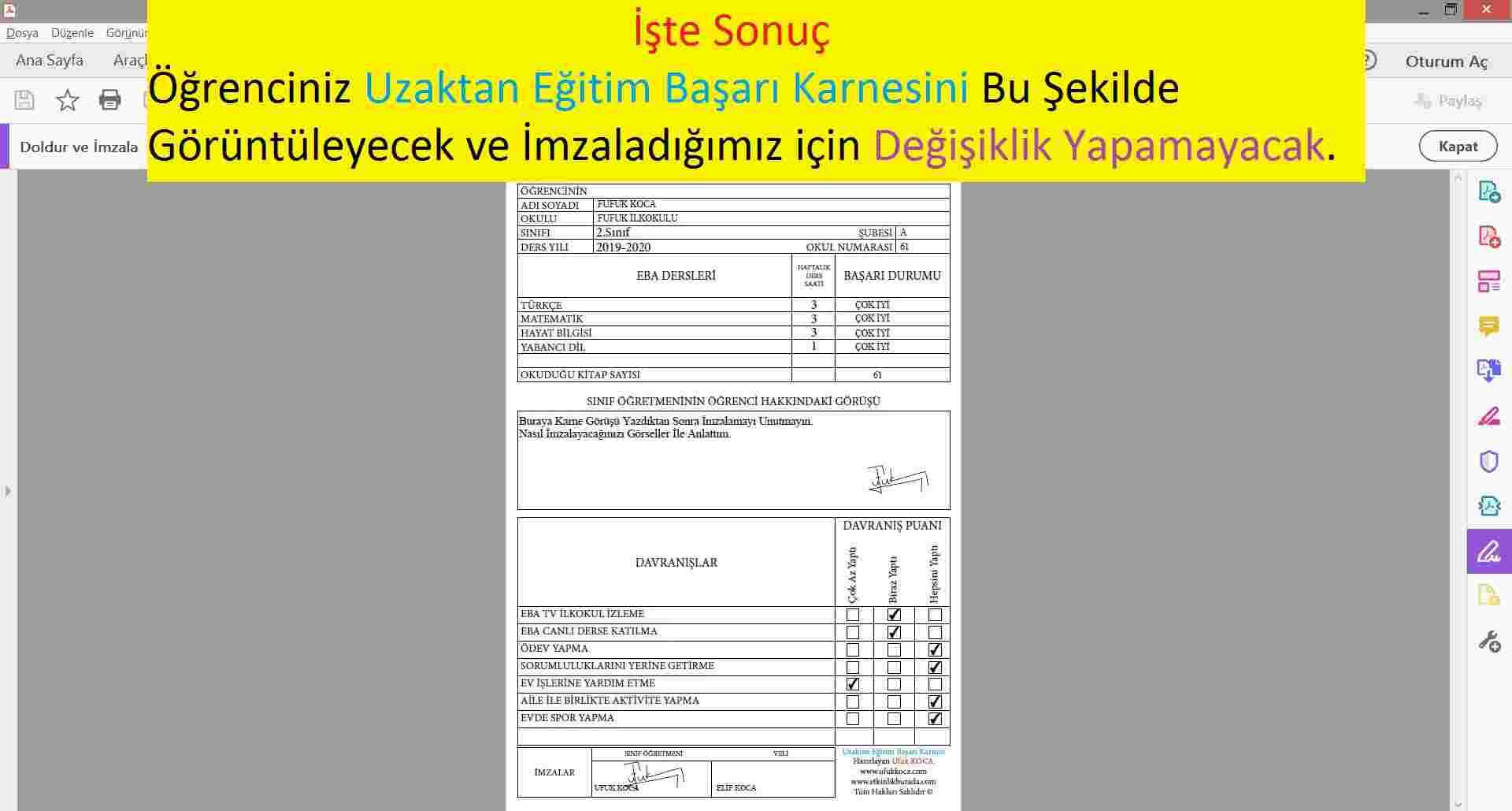 UZAKTAN EĞİTİM BAŞARI KARNESİ - 2.SINIF