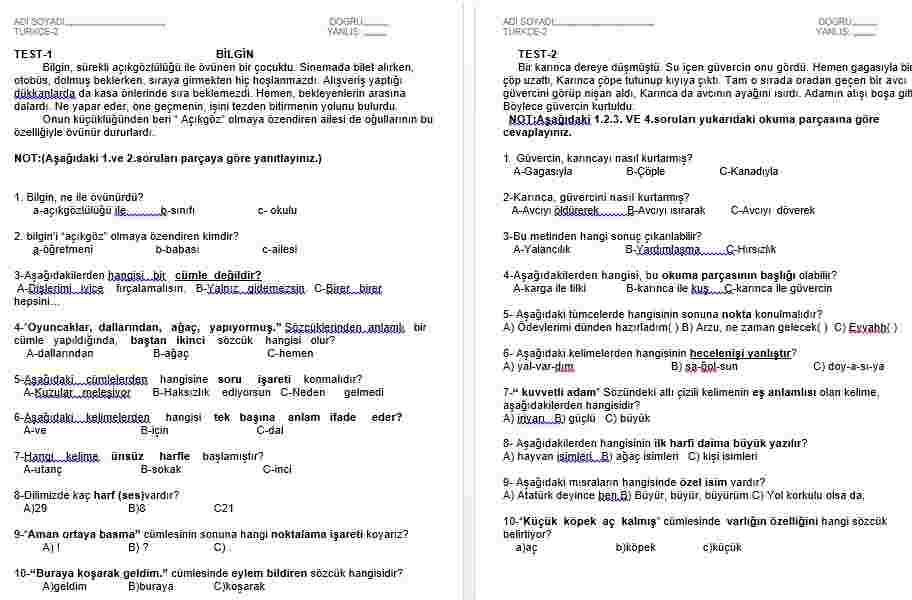 Türkçe Okuduğunu Anlama Ve Dil Bilgisi İçeren 87 Sayfa Çalışma
