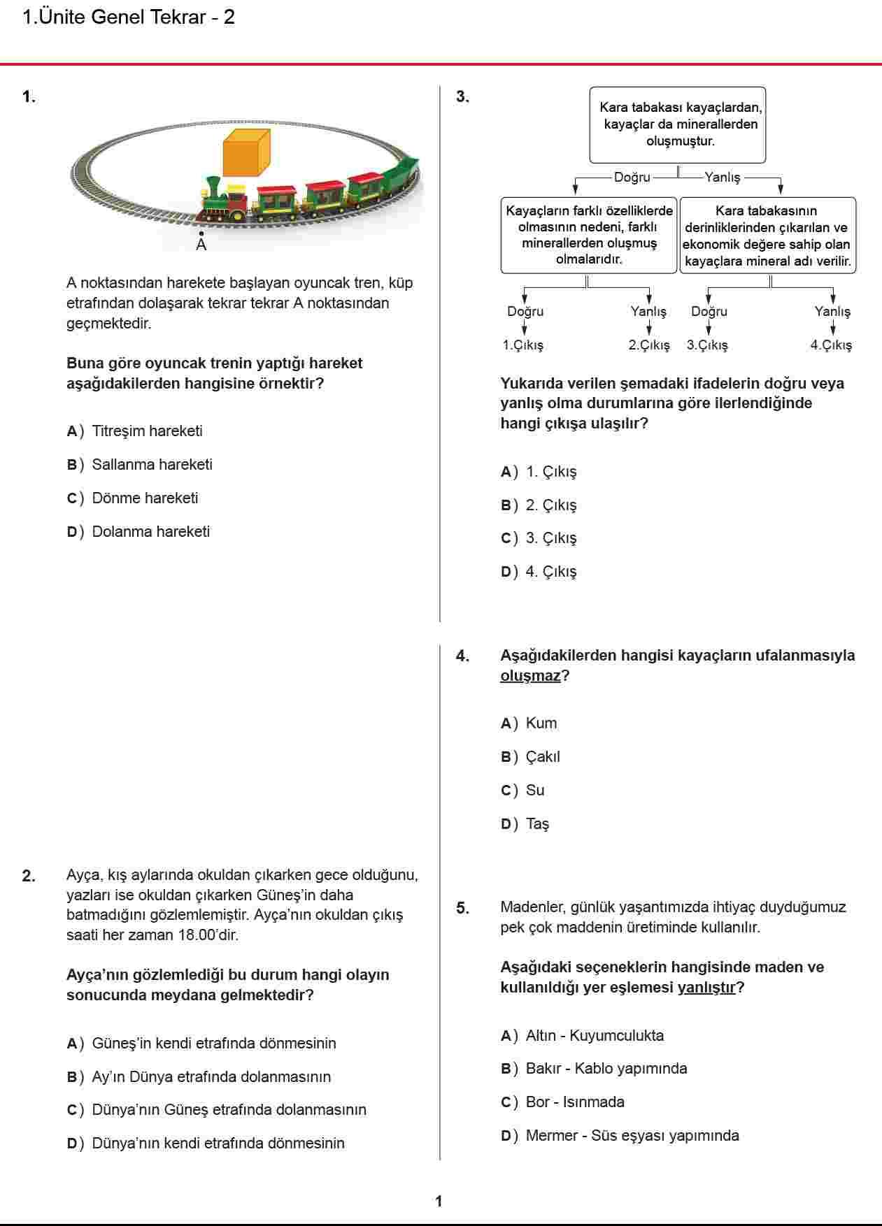 FEN BİLİMLERİ 1. ÜNİTE 25 Soruluk GENEL DEĞERLENDİRME TESTİ