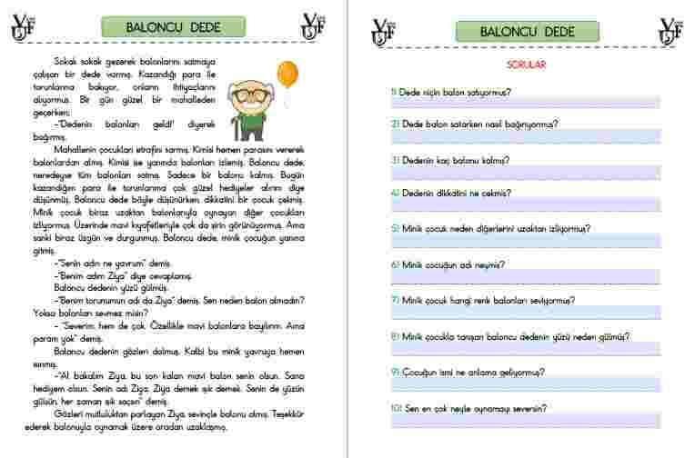 ETKİLEŞİMLİ PDF- OKUMA ANLAMA METNİ BALONCU DEDE